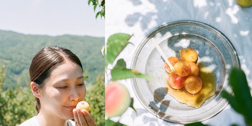 梅の香りをかぐ長田佳子さんと冷やし梅