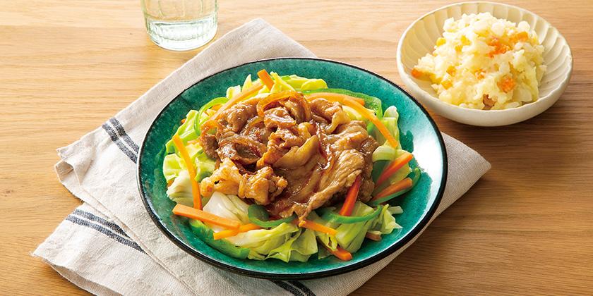 産直豚肉と野菜の甘辛炒め・ポテトサラダセット